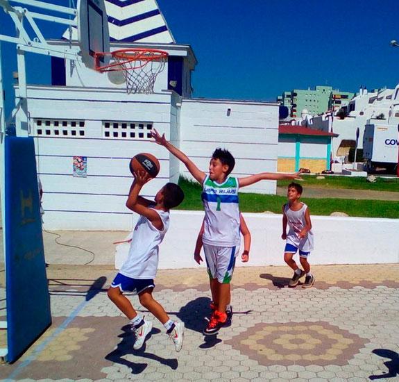Imagen de la competición de 3x3 de baloncesto.