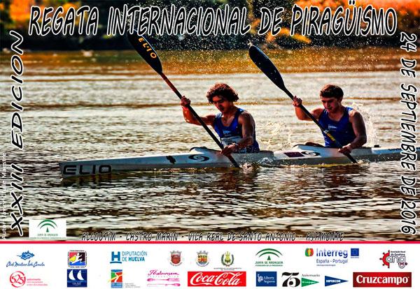 Cartel de la Regata Internacional de Piragüismo Río Guadiana.