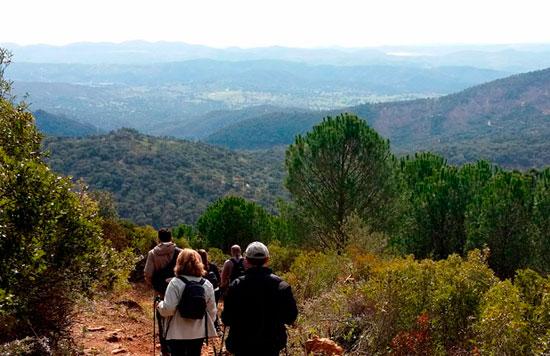Imagen de una actividad de senderismo en Álajar.