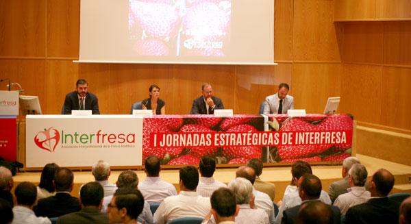 I Jornadas Estratégicas de la Asociación Interprofesional de la Fresa Andaluza, Interfresa, celebradas hoy en Huelva .
