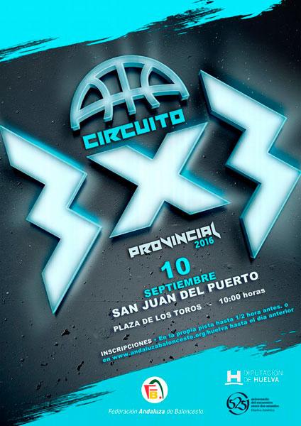 Cartel del Circuito 3x3 de Baloncesto en san Juan del Puerto.