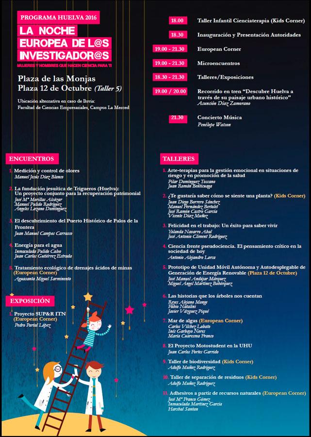 Programación de la Noche Europea de los Investigadores en Huelva.