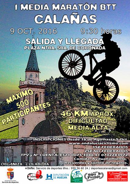 Cartel de la I Media Maratón BTT Calañas.