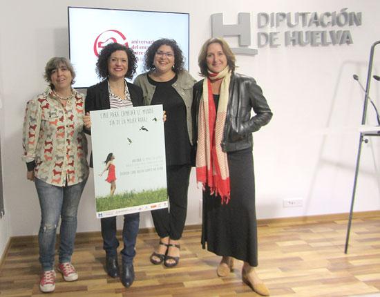 María Eugenia Limón, Eva Salazar, María Clauss y Gele Fernández durante la presentación de las proyecciones en la Diputación de Huelva.