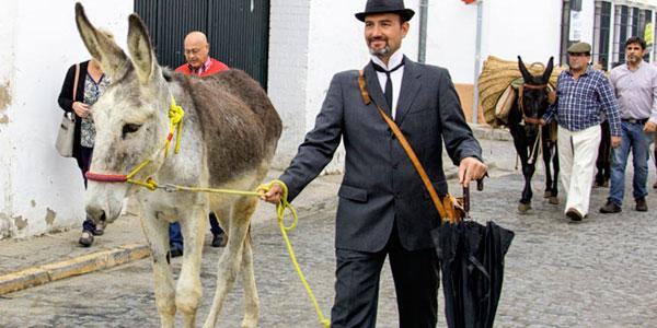 Imagen de una representación de la vendimia con Juan Ramón Jiménez y Platero como protagonistas.