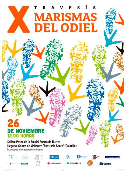 Cartel de la X Travesía Marismas del Odiel.