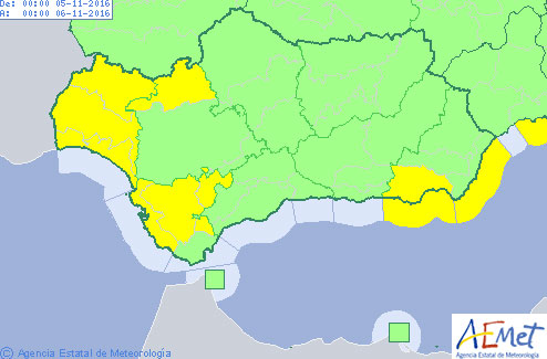 Mapa de avisos en Andalucía previsto para mañana.
