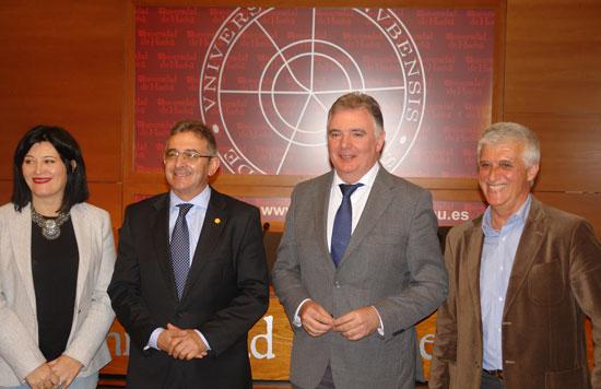 Carmen Solana, Francisco Ruiz, Francisco José Romero y Juan Campos en la Universidad de Huelva.