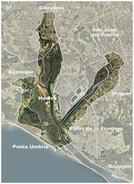 Mapa sobre las acciones de la EDUSI en las rías de Huelva.