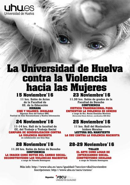Cartel del programa de actividades de la UHU en el Día Internacional de la Violencia de Género.