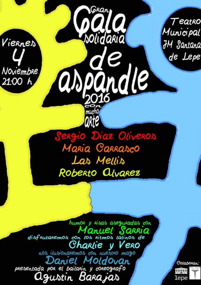 Cartel de la Gala Solidaria a favor de Aspandle.