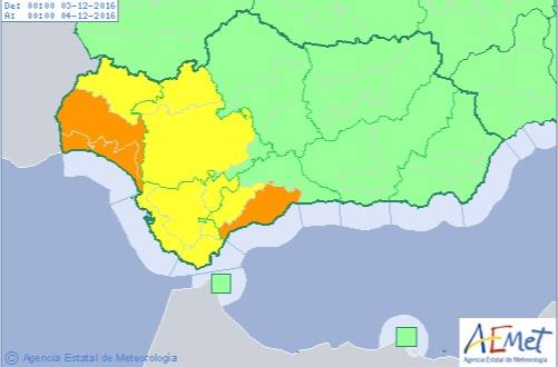 Mapa de previsión de AEMET para la jornada de hoy en Andalucía.