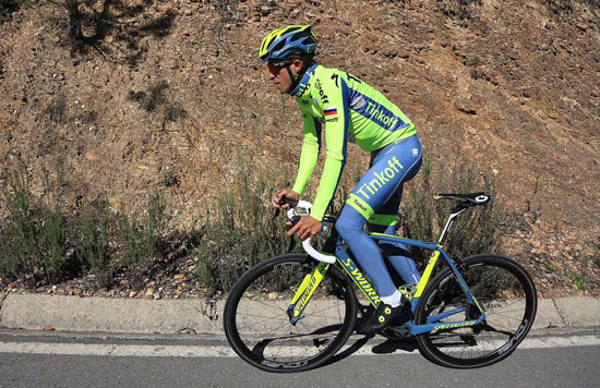 Alberto Contador, durante un entrenamiento.