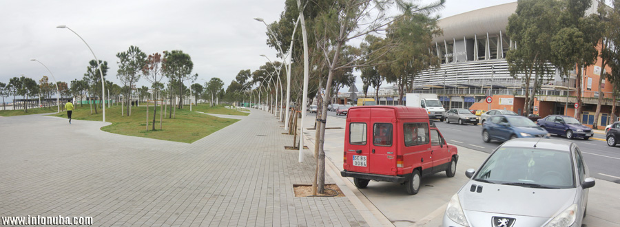 El nuevo Paseo de la Ría de Huelva potencia claramente la actividad entorno al Estadio Nuevo Colombino.