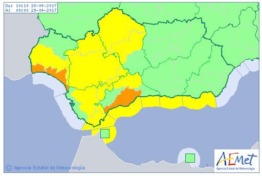 Previsión de avisos meteorológicos para el día de hoy en la Comunidad Autónoma de Andalucía.