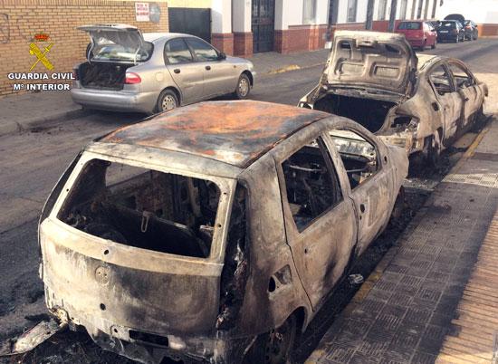 Dos de los coches afectados.