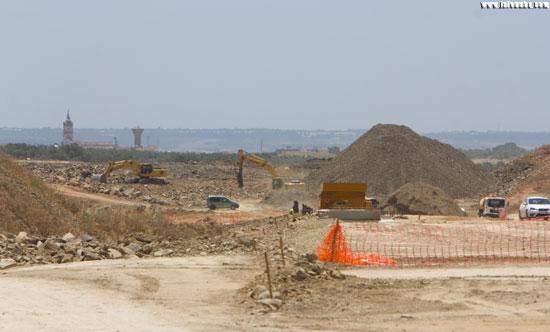 Imagen de las obras del desdoble de la N-435, que actualmente ejecuta el Ministerio de Fomento en Huelva.