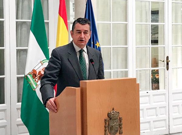 Antonio Sanz, durante su comparecencia ante los medios de comunicación.
