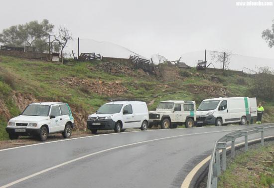 Imagen de algunos de los vehículos de la Junta, durante una actuación, en mazo de 2018.