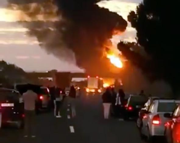 Imagen del incidente vial a primera hora de hoy.