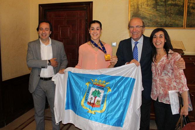 Imagen de una recepción a Carolina Marín en el  Ayuntamiento de Huelva