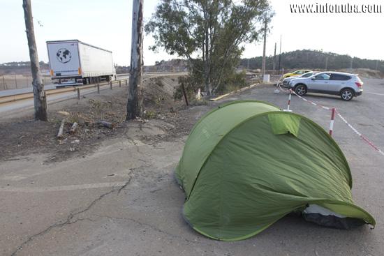Tienda de campaña donde duerme Raúl.