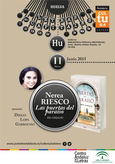 """Cartel de la presentación de """"Las puertas del paraíso"""" de Nerea Riesco."""