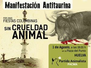 Cartel de la manifestación en contra de la crueldad animal en las Fiestas Colombinas.