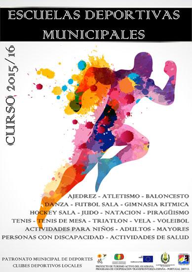 Cartel del curso 2015/16 de las Escuelas Deportivas Municipales.