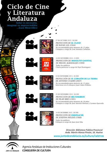 """Cartel del ciclo """"Cine y literatura andaluza"""" en Huelva."""