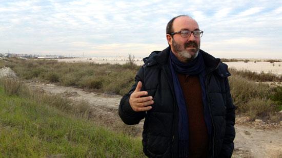 Pedro Jiménez, en las balsas de fosfoyesos.