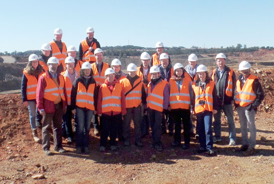 Visita de los alumnos alemanes al Proyecto Minero de Riotinto.