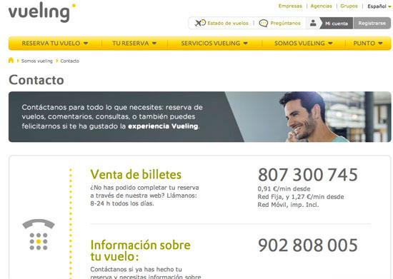 Imagen de la página web de Vueling.