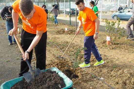 Imagen de algunos alumnos plantando especies vegetales autóctonas.