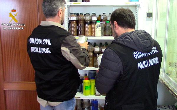 Agentes de la Guardia Civil comprueban los aceites intervenidos.