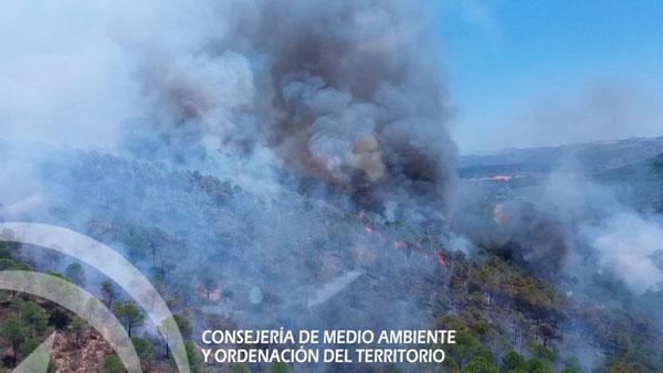 Imagen aérea del incendio de Calañas.