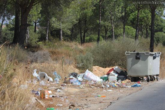 Imagen de los diferentes residuos junto al contenedor.
