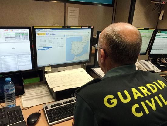 Imagen de la central de coordinación de la Guardia Civil.
