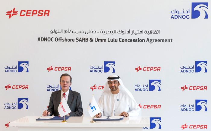 Su excelencia, el Dr. Sultán Ahmed Al Jaber, Consejero Delegado del Grupo ADNOC, y Pedro Miró, Vicepresidente y Consejero Delegado de Cepsa.